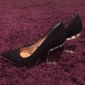 Clear Perspex Heeled Black Court Shoes US 8.5